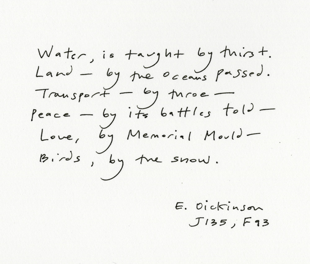 """Sandra Lim on Emily Dickinson's """"[Water is taught by thirst.]"""""""