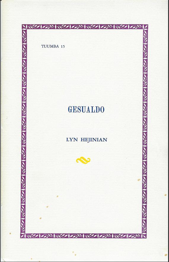 Gesualdo_Hejinian